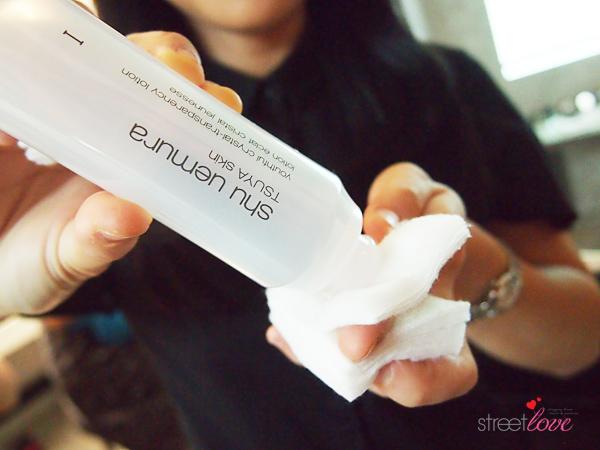 Shu Uemura TSUYA Skin Youthful Crystal-Transparency Lotion on Cotton Pad