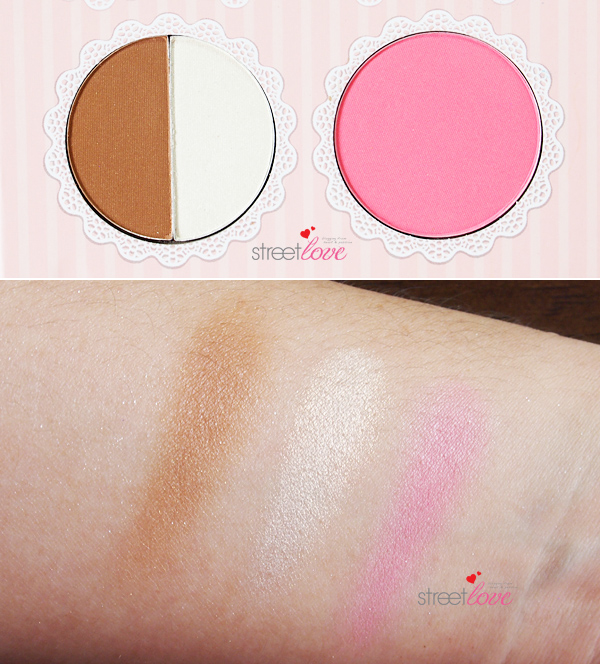 That's Heart Eyeshadow & Blush Palette Bronzer, Highlight and Blush Swatches