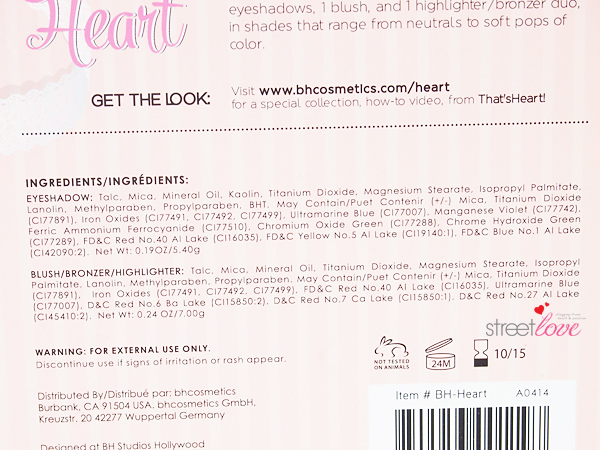 That's Heart Eyeshadow & Blush Palette Ingredient List