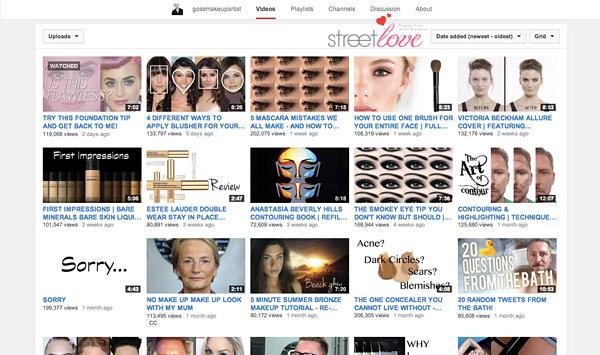 YouTube Favourite 9 gossmakeupartist