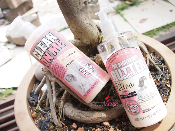 Soap & Glory Clean On Me and The Righteous Butter Body Lotion
