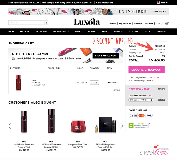 Luxola Beauty Products Checkout