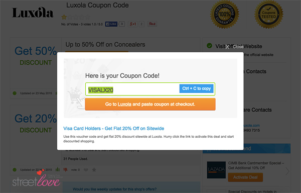 VoucherCodes Luxola Beauty Products Visa Card Holders Flat 20% Code