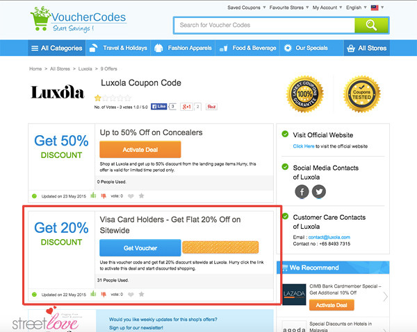 VoucherCodes Luxola Beauty Products Visa Card Holders Flat 20%