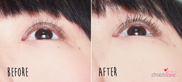 Canmake Flaring Curl Mascara Before and After 3