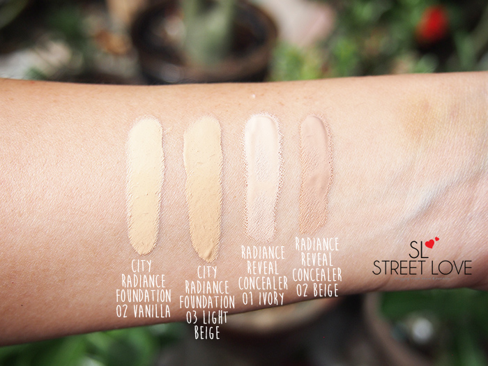 Bourjois City Radiance Skin Protecting Foundation and Radiance Reveal Concealer Swatches