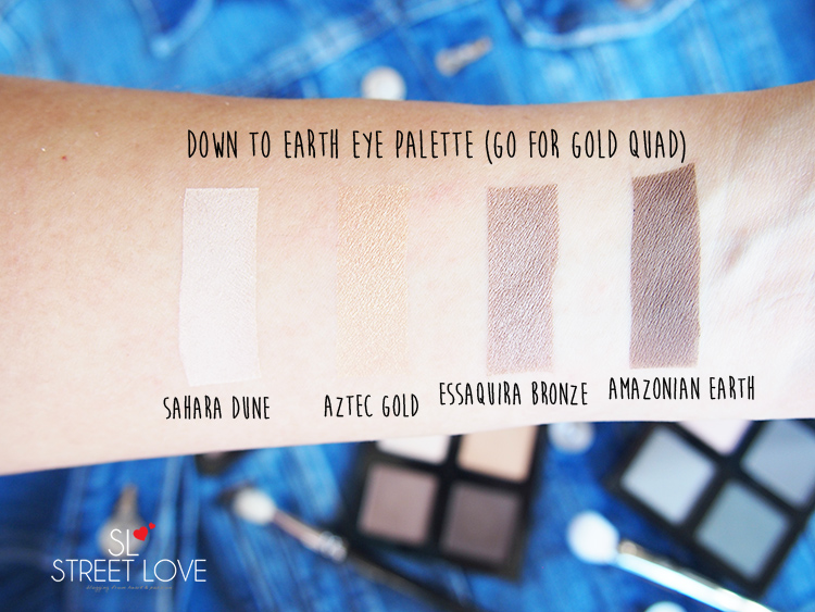 The Body Shop Down To Earth Eye Palette Go For Gold Quad Swatches
